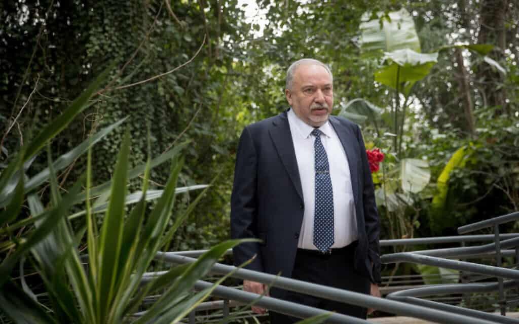 אביגדור ליברמן במכון הישראלי לדמוקרטיה, היום (צילום: יונתן זינדל, פלאש 90)