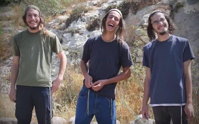 חברי נוער הגבעות ידידיה שליסל, יהושע למביאסי ויצחק אטינגר (צילום: תצלום מסך / יוטיוב)