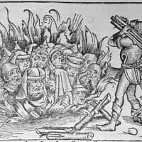 איור של יהודים עולים בלהבות בתקופת האינקוויזיציה (צילום: רשות הציבור)