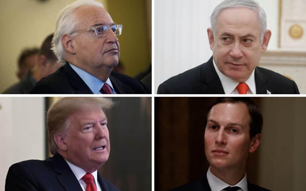בנימין נתניהו, ג׳ארד קושנר, דונלד טראמפ, דיוויד פרידמן (צילום: AP Images)