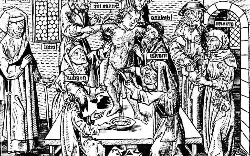 """הדפס עץ שמציג את הרצח הפולחני לכאורה של """"סימון מטרנטו"""", 1475 (צילום: רשות הציבור)"""