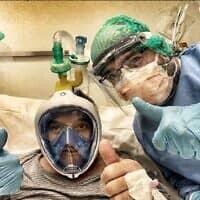 חולה מונשם באמצעות מסיכת דקתלון באיטליה. מתוך עמוד הפייסבוק MEDDY BEAR (צילום: צילום מסך מתוך עמוד הפייסבוק MEDDY-BEA)