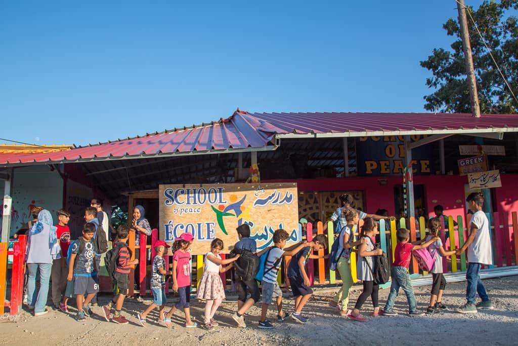 בית הספר לשלום באי לסבוס, לפני השריפה (צילום: Lisa Kristine/israAID)