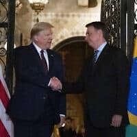 טראמפ ובולסונרו בפגישה במרץ 2020 (צילום: AP Photo/Alex Brandon)
