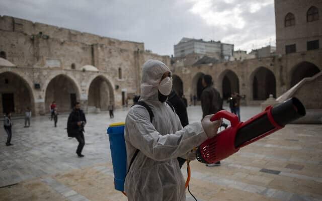 עובדי הבריאות בעזה מחטאים מקומות ציבוריים (צילום: (AP Photo/Khalil Hamra))