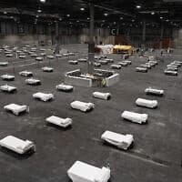 ממשלת ספרד הסבה את מרכז הכנסים של מדריד לבית חולים עבור חולי קורונה, עם 5500 מיטות. ספרד אחת המדינות שנפגעו קשות ממגפת הקורונה ומדריד נתונה בעוצר מלא (צילום: Comunidad de Madrid via AP)