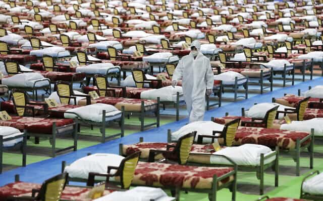 בית חולים ארעי לחולי קורונה באיראן, מרץ 2020 (צילום: AP Photo/Ebrahim Noroozi)