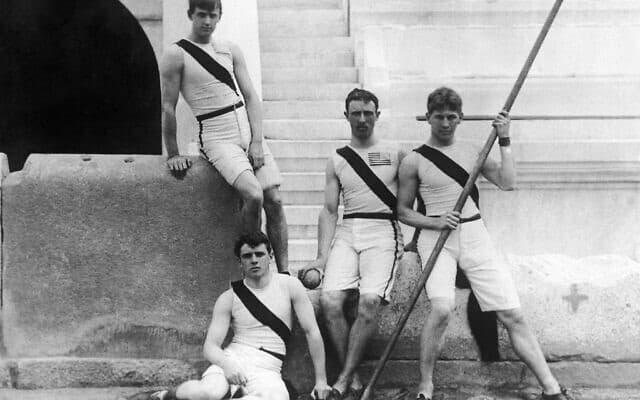 נבחרת האתלטיקה האמריקאית למשחקים האולימפיים ביוון, 1896 (צילום: AP Photo)