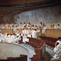 הסנאט הרומאי, קטע מפרסקו מהמאה ה-19 במשכן הסנאט ברומא (צילום: Cesare Maccari, ויקיפדיה)