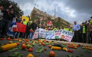 הפגנת חקלאים מול משרד האוצר בירושלים 2015 (צילום: Hadas-Parush-Flash90)