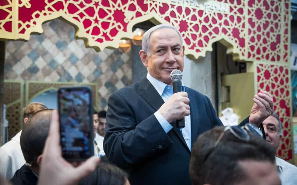 בנימין נתניהו בשוק מחנה יהודה, ב-28 בפברואר 2020 (צילום: יונתן זינדל/פלאש90)