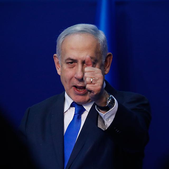 בנימין נתניהו בנאום הניצחון באקספו בתל אביב. 3 במרץ 2020 (צילום: Olivier Fitoussi/Flash90)