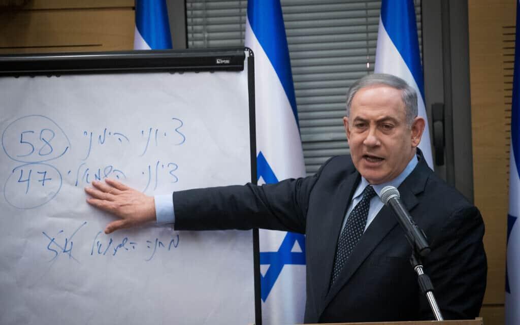 בנימין נתניהו אחרי היוודע תוצאות הבחירות, מסביר את המתמטיקה של התוצאות (צילום: יונתן זינדל/פלאש90)