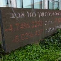 מסכים אדומים בבורסה לניירות ערך בתל אביב. מרץ 2020 (צילום: Avshalom Sassoni/Flash90)