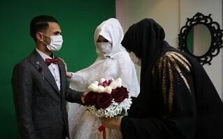 חתונה בעזה בצל התפרצות הקורונה, מרץ 2020 (צילום: Abed Rahim Khatib/ Flash90)