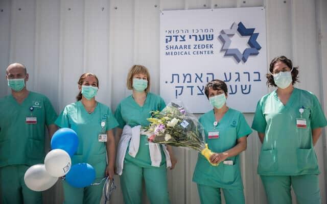 משבר הקורונה: אח ואחיות בשערי צדק, מרץ 2020 (צילום: Yonatan Sindel/Flash90 )
