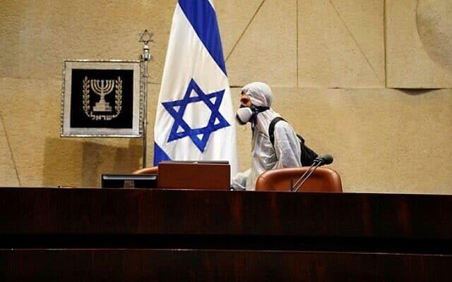 הכנסת עוברת חיטוי לקראת השבעת הכנסת ה-23. 16 במרץ 2020 (צילום: דוברות הכנסת)