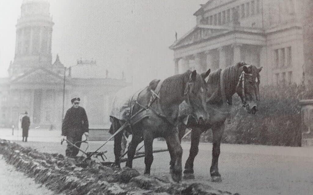 """תמונה מהספר של רוג'ר מורהאוס """"ברלין במלחמה"""": תושב ברלין חורש שדה מאולתר בכיכר הז'נדרמנמרקט במרכז ברלין"""