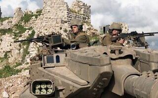 """טנק מחטיבה 7 במוצב בופור בשנת 1995, (צילום: אלפי בן יעקב, ארכיון צה""""ל ומערכת הביטחון). (צילום: אלפי בן יעקב, ארכיון צה""""ל ומערכת הביטחון.)"""