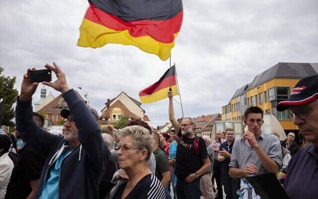 עצרת של מפלגת אלטרנטיבה לגרמניה לקראת הבחירות המחוזיות במדינת סקסוניה, בבאוצן, גרמניה, 15 באוגוסט 2019 (צילום: איי-פי/מרקוס שרייבר)