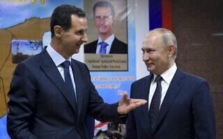 ולדימיר פוטין ובשאר אל אסד, בביקורו של נשיא רוסיה בדמשק, ב-7 בינואר 2020 (צילום: Alexei Druzhinin, Sputnik, Kremlin Pool Photo via AP)