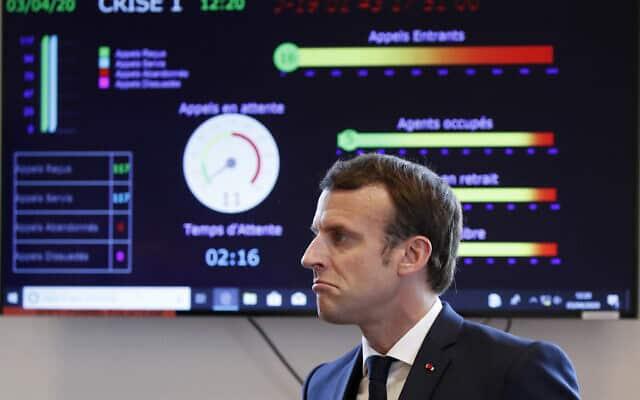 גם הנשיא מודאג: משבר הקורונה בצרפת, אפריל 2020 (צילום: AP Photo/Francois Mori, pool)