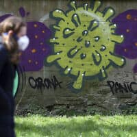 עוברת אורח העוטה מסכת מגן לצד גרפיטי של נגיף הקורונה בסקוטלנד, 12 באפריל 2020 (צילום: Andrew Milligan/PA via AP)