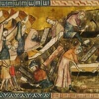 תושבי טורנה קוברים את קורבנות המגפה השחורה. פירר דו טילט, 1360-1340 (צילום: רשות הציבור)