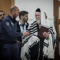 אליעזר ברלנד בבית המשפט המחוזי בירושלים, 28 בפברואר 2020 (צילום: יונתן זינדל, פלאש 90)