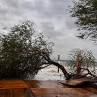 רוחות וגשמים עזים הסבו נזקים קשים לחופי הים באילת. מרץ 2020 (צילום: Flash90)