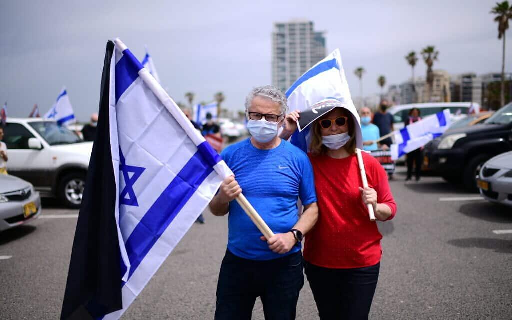 עידן הקורונה: מחאה נגד המשך שלטון נתניהו בתל אביב, אפריל 2020 (צילום: Tomer Neuberg/Flash90 )