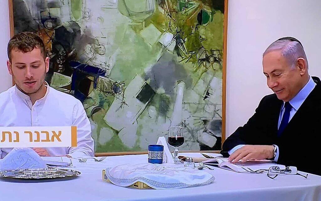 בנימין ואבנר נתניהו בליל הסדר 2020 (צילום: צילום מסך, ערוץ 12)
