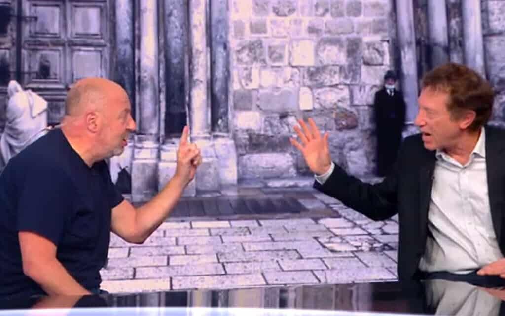 אבי שמחון והראל ויזל מתווכחים באולפן חדשות 12,אפריל 2020 (צילום: צילום מסך, ערוץ 12)