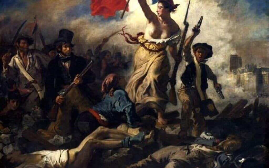 """""""החירות מובילה את העם"""", המהפכה הצרפתית, ציור: אז'אן דלקרואה"""