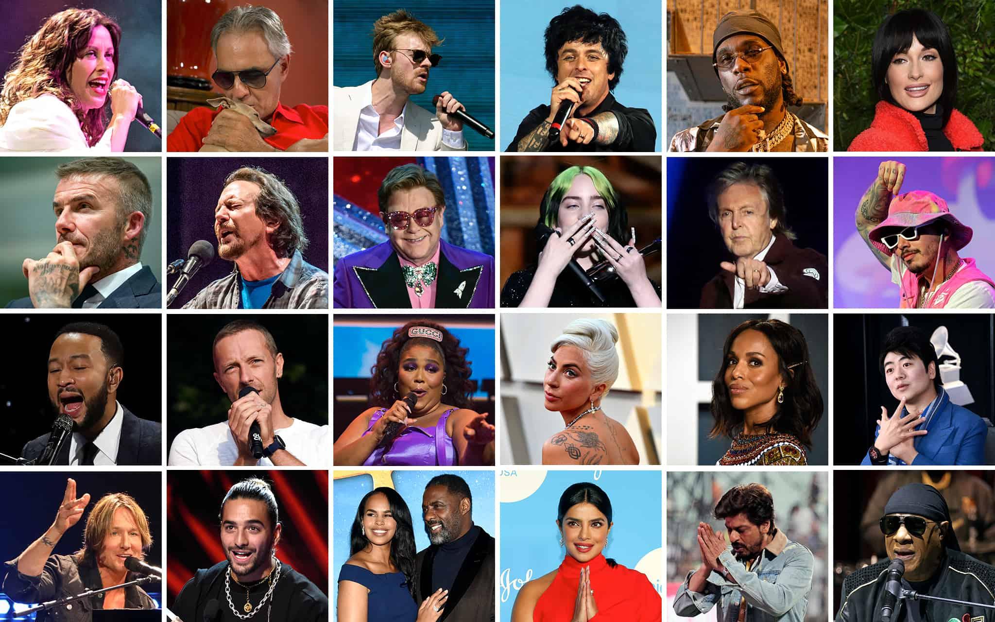 כל משתתפי ״עולם אחד – ביחד בבית״ (צילום: AP Photo/Montage)