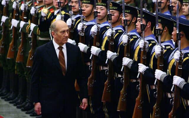 אהוד אולמרט מבקר בסין כראש ממשלה, 2007 (צילום: AP Photo/Elizabeth Dalziel)