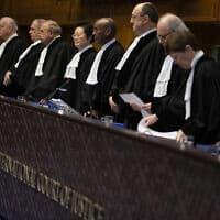 שופטי בית הדין הבינלאומי בהאג, אשתקד (צילום: Peter Dejong, AP)