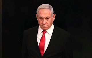 נתניהו בלשכת ראש הממשלה, 14 במרץ 2020 (צילום: Gali Tibbon/Pool via AP, File)