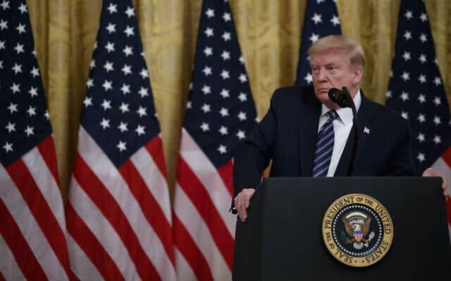 דונלד טראמפ, 30 באפריל 2020 (צילום: AP Photo/Alex Brandon)