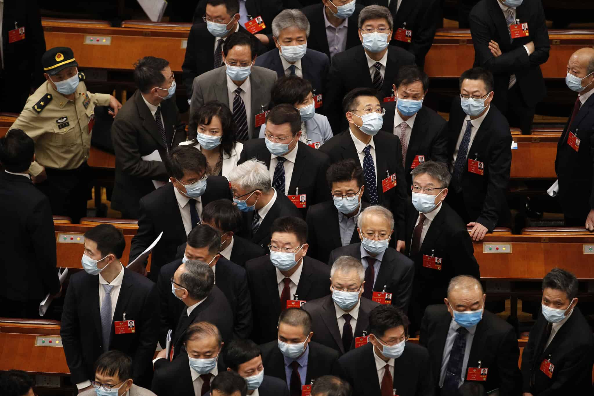 אילוסטרציה, דיון פוליטי בסין בעידן הקורונה, מאי 2020 (צילום: AP Photo/Andy Wong, Pool)
