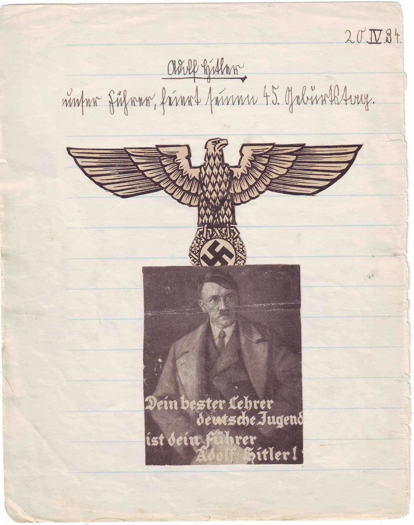 דף ממחברת בית הספר של אדגר פויכטוונגר מ-20 באפריל 1934 (צילום: Courtesy)