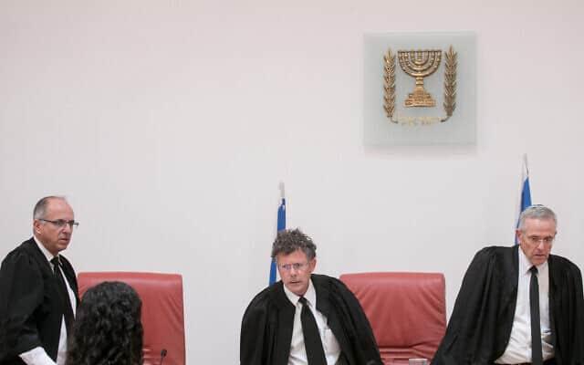 השופטים דוד מינץ, יצחק עמית ונעם סולברג בבית המשפט העליון (צילום: מרים אלסטר/פלאש90)