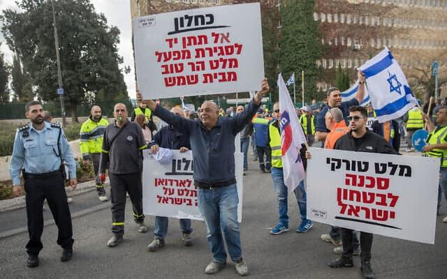 מחאה נגד פתיחת שוק המלט ליבוא מחו״ל. 2018 (צילום: Yonatan Sindel/Flash90)