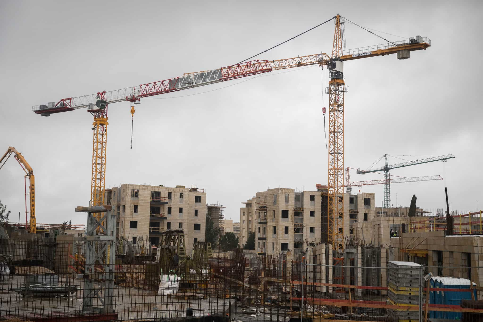 אתר בנייה של פרויקט מחיר למשתכן בשכונת ארמון הנציב בירושלים. ינואר 2019 (צילום: Hadas Parush/ Flash90)