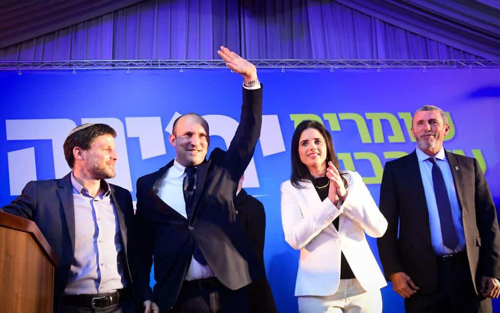 רפי פרץ, איילת שקד, נפתלי בנט ובצלאל סמוטריץ׳ אחרי הבחירות ב-2 במרץ 2020 (צילום: פלאש90)