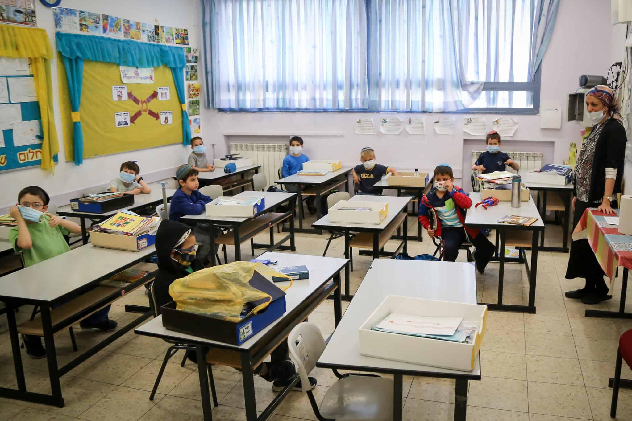 תלמידים בבית הספר אורות עציון בהתנחלות אפרת לובשים מסכות מגן עם חזרתם לבית הספר לראשונה מאז התפרצות הקורונה, 3 במאי 2020 (צילום: גרשון אלינסון/פלאש90)