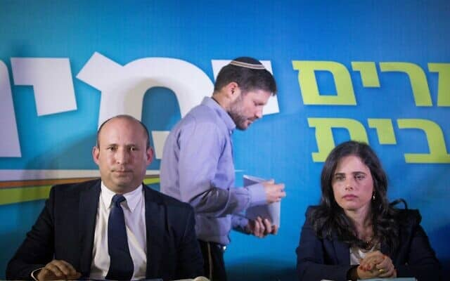 אילת שקד, בצלאל סמוטריץ׳ ונפתלי בנט במסיבת עיתונאים, ב-14 במאי 2020 (צילום: יונתן זינדל/פלאש90)