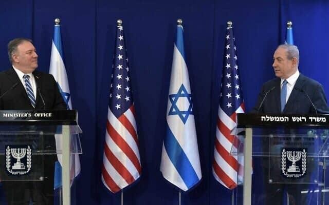 """בנימין נתניהו ומייק פומפאו במעון ראש הממשלה, ב-13 במאי 2020 (צילום: קובי גדעון/לע""""מ)"""