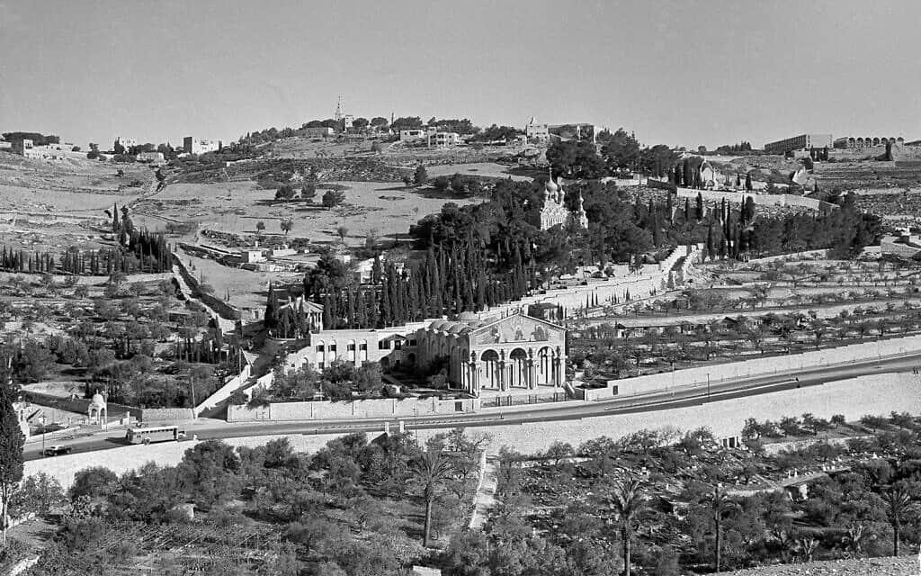 גת שמנים בירושלים, במרכז, והר הזיתים משמאל, 20 בדצמבר 1963 (צילום: Jim Pringle/AP)