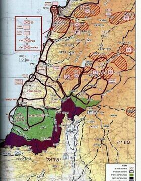 """היערכות אויב סורי ופלסטיני בתחילת מלחמת לבנון (מתוך """"של""""ג בלבנון"""", שמעון גולן)"""